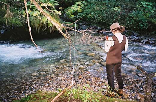 Lady Taking Inventory Water Stream