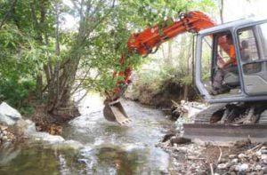 Natures Habitat Rehabilitation - Backhoe Digger In Creek